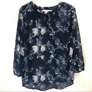 Lucky Brand Floral Semi-Sheer Long-Sleeve Tie Top